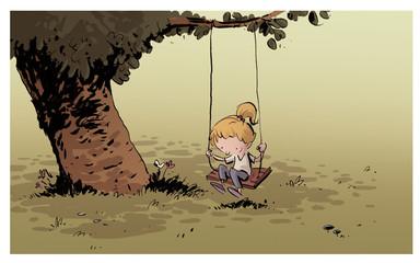 niña montada en columpio