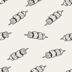 Doodle Kebab seamless pattern background