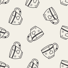 doodle coffee and tea seamless pattern background