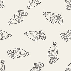ham doodle seamless pattern background