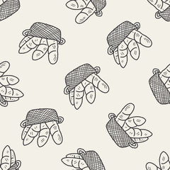 doodle bread seamless pattern background