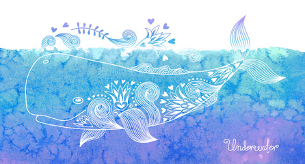 Watercolor card with whale