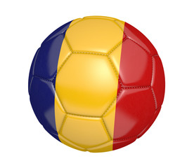 Soccer ball, or football, with the country flag of Romania