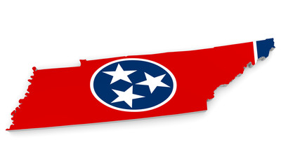 Geographic border map and flag of Tennessee, The Volunteer State
