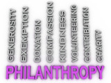 3d image Philanthropy  issues concept word cloud background
