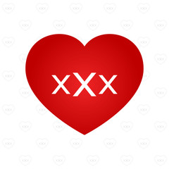 XXX sign on heart symbol with pattern background vector illustra