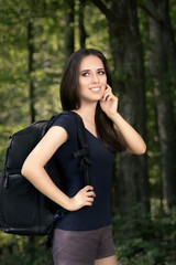 Happy Hiking Girl with Travel Backpack