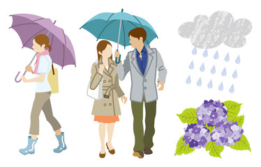 Rainy day Young Adults Clip Art set