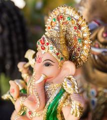 Ganesh ,elephant god, figure closeup