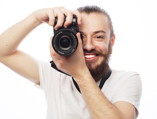 Young bearded  photographer