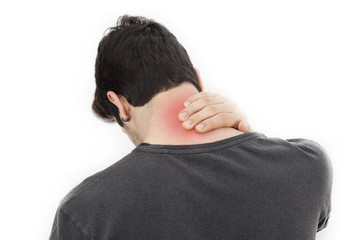 Young man with pain in neck