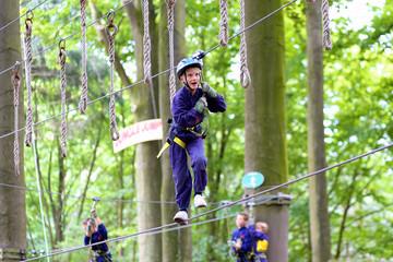 Happy kids climbing in adventure park