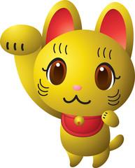 招き猫 金色
