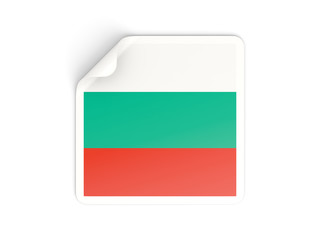 Square sticker with flag of bulgaria