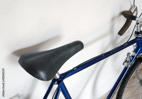 Bicycle Leather saddle of touring bicycle