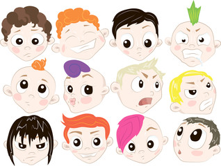 Set of cartoon people with different emotions