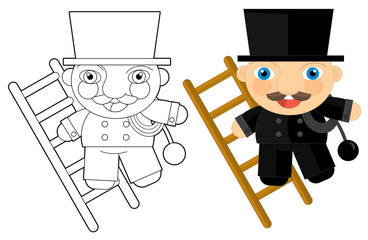 Cartoon character - chimney-sweep - coloring page