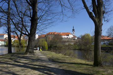Spring medieval Town Pisek above the river Otava, Czech Republic