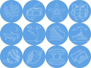 Underwater blue round icons