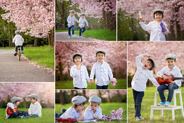 Collage of pictures of two adorable caucasian boys in a blooming