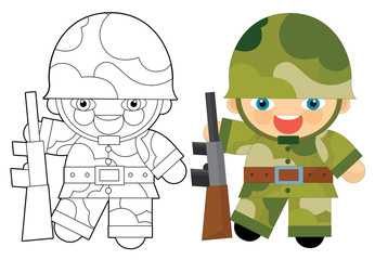 Cartoon character - soldier - coloring page