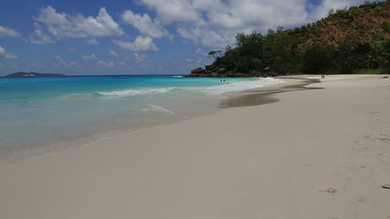 Beautiful Beach Anse Georgette. Time Lapse