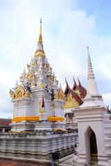A white pagoda at chaiya temple , Suratthani , Thailand