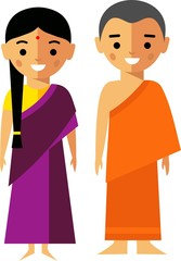 Vector illustration of india monk and woman