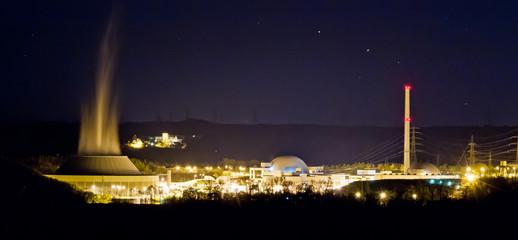 Kernkraftwerk Neckarwestheim - Nachtaufnahme