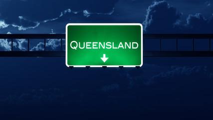 Queensland Australia Highway Road Sign at Night