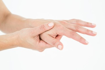 Woman suffering from hand pain
