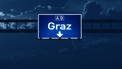 Graz Austria Highway Road Sign at Night