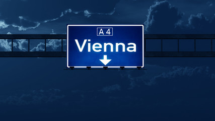Vienna Austria Highway Road Sign at Night