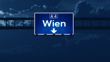 Wien Austria Highway Road Sign at Night