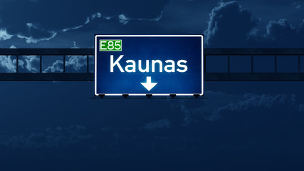 Kaunas Lithuania Highway Road Sign at Night