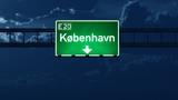 Kobenhavn Denmark Highway Road Sign at Night poster