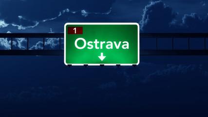 Ostrava Czech Republic Highway Road Sign at Night