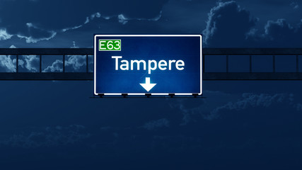 Tampere Finland Highway Road Sign at Night