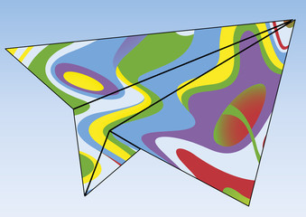 Avion en papier psychédélique