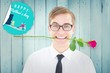 Composite image of geeky hipster holding a red rose in his teeth