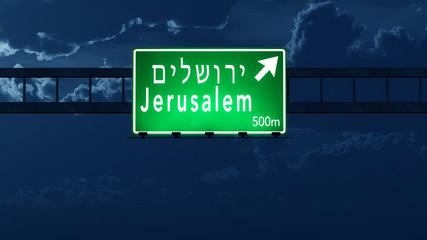 Jerusalem Israel Highway Road Sign at Night