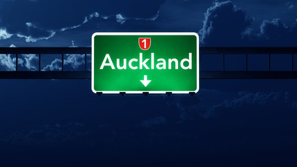 Auckland New Zealand Highway Road Sign at Night