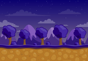 Vector Unending Landscape Background with Trees and Mountains