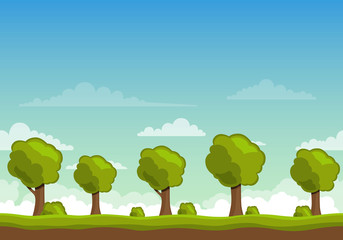 Vector Unending Landscape Background with Trees