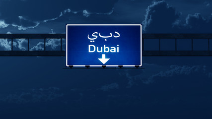 Dubai UAE Highway Road Sign at Night
