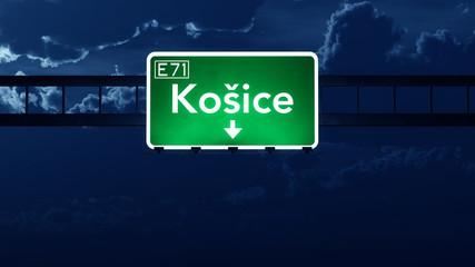 Kosice Slovakia Highway Road Sign at Night