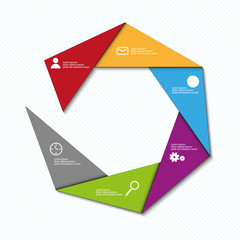 info graphic vector triangle color template