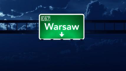 Warsaw Poland Highway Road Sign at Night