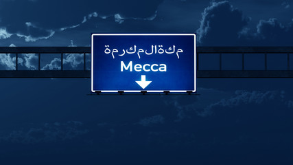 Mecca Saudi Arabia Highway Road Sign at Night