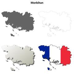 Morbihan (Brittany) outline map set